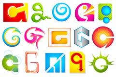 Unterschiedliche Ikone mit Alphabet G Lizenzfreies Stockfoto