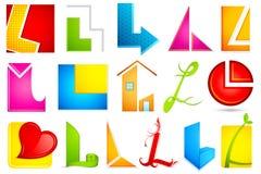 Unterschiedliche Ikone mit Alphabet L Stockbilder