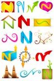 Unterschiedliche Ikone mit Alphabet N Stockbilder