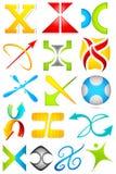 Unterschiedliche Ikone mit Alphabet X Stockbilder