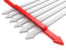 Unterschiedliche rote Pfeilrichtige richtung Stockfoto