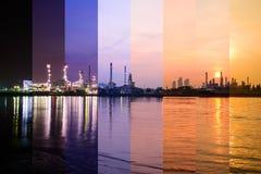 Unterschiedliche Schattenfarbeerdölraffinerie in dem Fluss in der Sonnenaufgangzeit lizenzfreies stockfoto