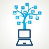Unterschiedliche Social- und Technologieikone Stockbild