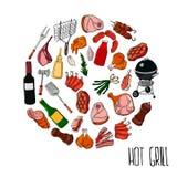 Unterschiedliche Spezialwerkzeuge und Lebensmittel f?r Grillpartei , Fleisch, Steak und Wurst Bbq-Grill und -nahrung gegrillt, -w vektor abbildung