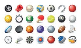 Unterschiedliche Sportbälle und -ausrüstung lizenzfreie abbildung
