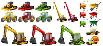 Unterschiedliche Traktoren und Baugeräte Stockfoto