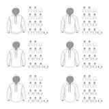 Unterschiedliche Vektormodelle der mit Kapuze Sweatshirtschablone, Front und Ba stockbilder