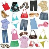 Unterschiedliche weibliche Kleidung Stockbild