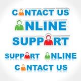 Unterschiedlicher Aufkleber von online, Support, bringen uns in Kontakt Lizenzfreie Stockbilder