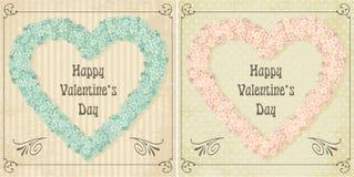 Unterschiedlicher Farbsatz der Weinlese Valentinsgrußkarte Stockbild