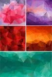 Unterschiedlicher Farbsatz des abstrakten Hintergrundpolygons Stockfoto
