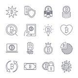 Unterschiedlicher Ikonensatz Bitcoin f?r Internet-Geldschl?sselw?hrungszeichen und M?nzenbild f?r die Anwendung im Netz, Apps, Pr lizenzfreie abbildung
