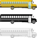 Unterschiedlicher netter Schulbus auf weißem Hintergrund in der flachen Art: farbiges, schwarzes Schattenbild und Kontur Vektor Stockbilder