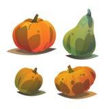 Unterschiedlicher orange punpkin Satz Herbst harves feiertage Lizenzfreie Abbildung