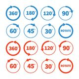 Unterschiedlicher Rotationswinkelvektor-Ikonensatz Stockfotos