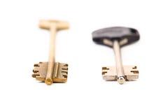 Unterschiedlicher Schlüssel zwei. Metall. Plastik. Stockfotografie