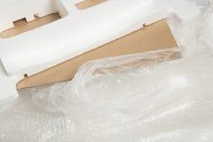 Unterschiedlicher Verpackungsmaterialabfall verwendete für ein Einzelteil stockfotos
