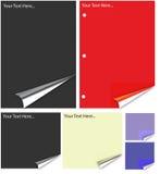 Unterschiedliches farbiges Papier mit realistischer Seitenrotation. Stockfotos