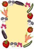 Unterschiedliches Gemüse umgibt ein großes Textfeld Stockbilder