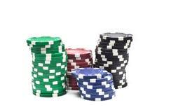 Unterschiedliches Kasino der Farbe vier Stockfotos