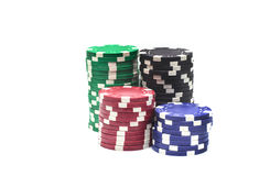 Unterschiedliches Kasino der Farbe vier Stockbilder