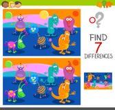 Unterschiedspiel mit Monstercharakteren Lizenzfreie Stockfotos