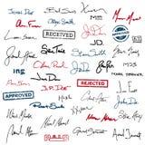Unterschriften und Stempel Stockfoto