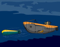 Unterseeboot, das einen Torpedo abfeuert lizenzfreie abbildung