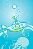 Unterseeboot und Krake Stockbild