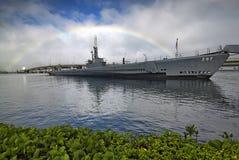 Unterseeboot USSs Bowfin mit Regenbogen, Pearl Harbor, Hawaii Lizenzfreies Stockfoto