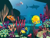 Unterseeische Welt mit Fischen Stockfotografie