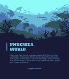 Unterseeischer Weltillustrationshintergrund, farbige Schattenbildelemente, flach Stockbild