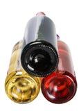 Unterseite der Flaschen des Weins der unterschiedlichen Art Lizenzfreies Stockfoto