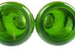 Unterseite der grünen Flaschen Stockfoto