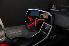 Unterstützt, Konzeptauto durch Mitsubishi auf Ausstellung CeBIT 2017 fahrend in Hannover Messe, Deutschland stockfotografie