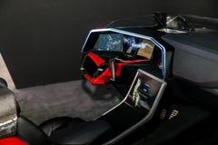Unterstützt, Konzeptauto durch Mitsubishi auf Ausstellung CeBIT 2017 fahrend in Hannover Messe, Deutschland lizenzfreie stockbilder