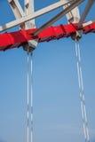 Unterstützung des gebogenen Stahlträgers von Chongqing Chaotianmen Yangtze River Bridge Stockfoto