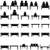 Unterstützung oder Leute am Tisch - gesetzte Ikonen stockbild