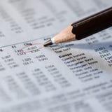 Unterstreichen der Börse stockfoto