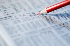 Unterstreichen der Börse stockfotos