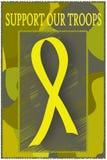 Unterstützen Sie unsere Truppen - gelbes Farbband Lizenzfreie Stockfotos