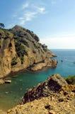 Untersuchen Sie von hohem den Schacht Calanques de Figuerolle Stockfoto
