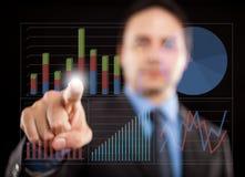 Untersuchungsdiagramme des Geschäftsmannes Stockfotos