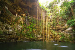 Untertagepool Ik-Kil Cenote Lizenzfreie Stockfotografie