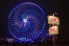 Untertagerichtung und großes Rad auf Platz Bellecour Stockfotos