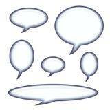 Untertitelen und Sprache-Luftblasen getrennt Stockbilder