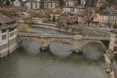 Untertorbrücke over Aare river and old city of Bern. Switzerland. Stock Photos