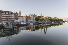 Untertrave in Luebeck at a sunny day Stock Photography