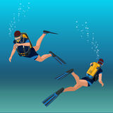 Unterwasseratemgerät diverflat Unterwasserleutetaucher isometrischer Illustration Lizenzfreies Stockfoto