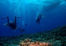Unterwasseratemgerät-Taucher, die zurück zu dem Boot vorangehen Stockbilder